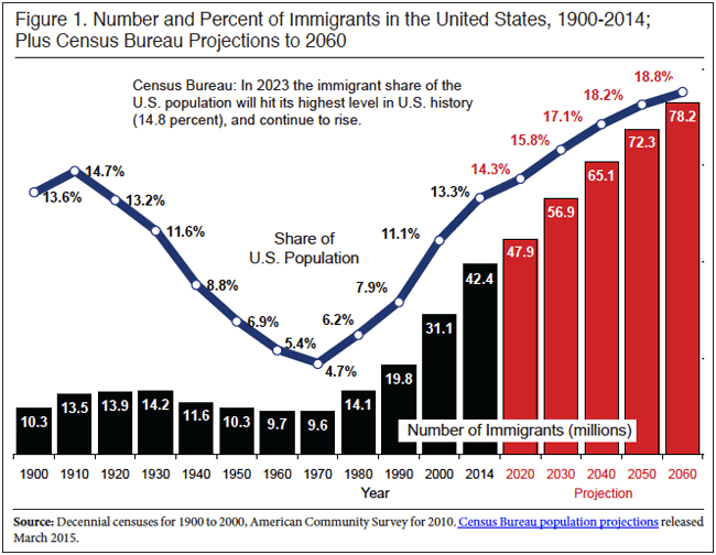 U.S. Immigrant Population Hit Record 42.4 Million in 2014