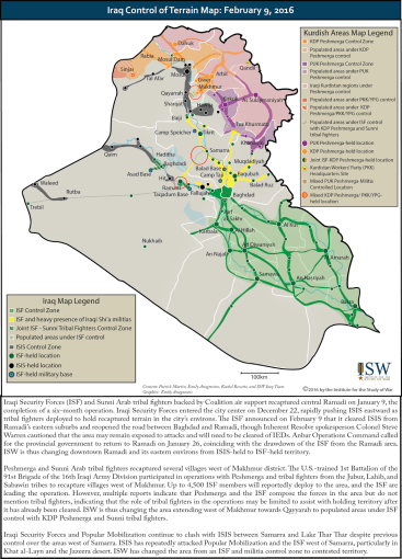 Iraq Control of Terrain Map: February 9, 2016