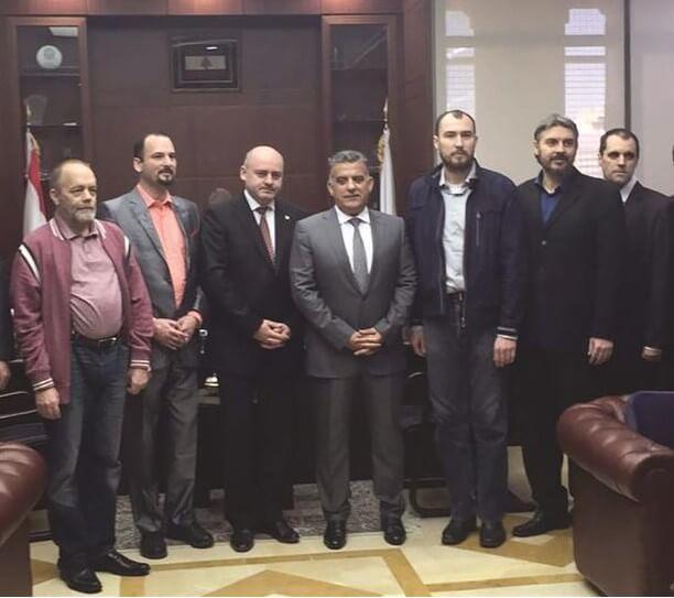 The Czechs after their release, with Czech Ambassador to Lebanon Svatopluk Cumba and Abbas Ibrahim