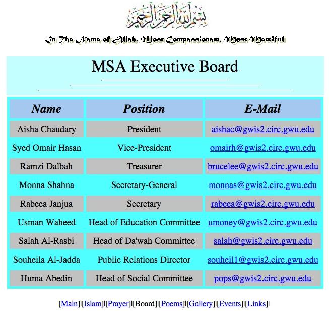 MSA Executive Board Huma Abedin